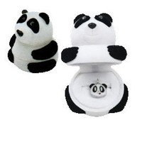 Panda Necklace Charm Pendant w/ in Panda Shaped Velour Gift Box with Squiggly Eyes