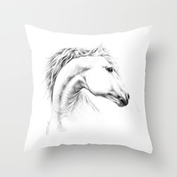 Horse Throw Pillow by EDrawings38