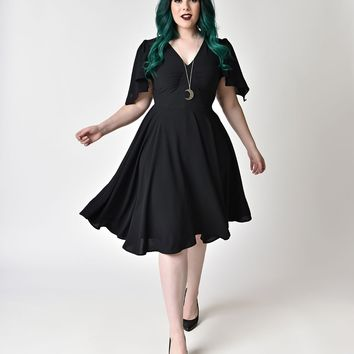 Hell Bunny Plus Size 1940s Style Black Butterfly Sleeve Carolina Swing Dress