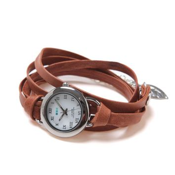 La Mer Saturn Leather Wrap Watch - Womens Jewelry - Brown - One