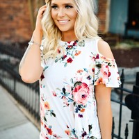 Garden Treasure Top (white floral cold shoulder)