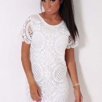 Prairie White Fully Lined Lace Mini Dress | Pink Boutique