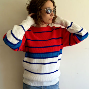 Vintage 80s OP Ocean Pacific Surfer Red White and Blue Oversize Long Knit Sweater