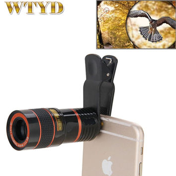 Camera lens for iPhone 6 6s 8X Zoom Telescope Telephoto Camera Lens with Clip for Samsung & for HTC and Other Mobile Phones