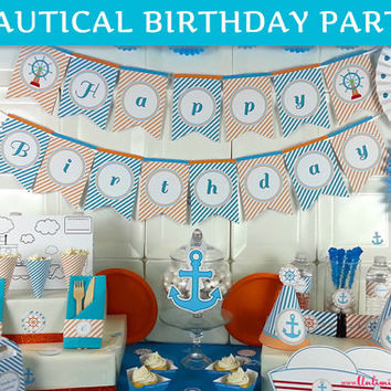 PRINTED Nautical Birthday Party Decorations - Nautical Party Kit - Sailor Birthday Party - Sailor Party Kit