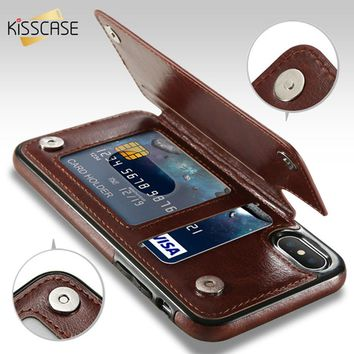 KISSCASE Flip Wallet Case For iPhone 7 6 6s 8 Plus X Card Stand Leather Cases For Samsung Galaxy S8 S7 Edge Accessories Capinhas