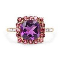 SALE   10K Yellow Gold 3.38CT Genuine Amethyst, Pink Tourmaline and Mined White Diamond 10K Yellow Gold Ring