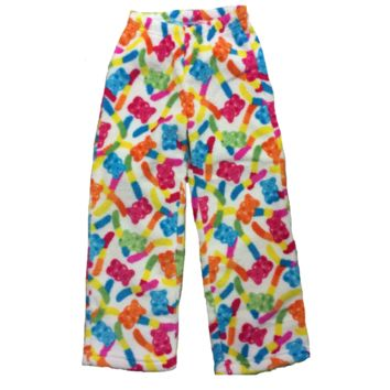 Sara's Prints Up Past 8 Girl's Fuzzy Fleece Pants - Gummy Candy