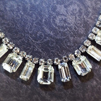 Weiss Signed Vintage 50s Rhinestone Emerald Cut by Mercivintage