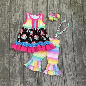 baby girls summer boutique unicorn outfits kids girls unicorn top with rainbow stripes ruffle capris clothes with accessories