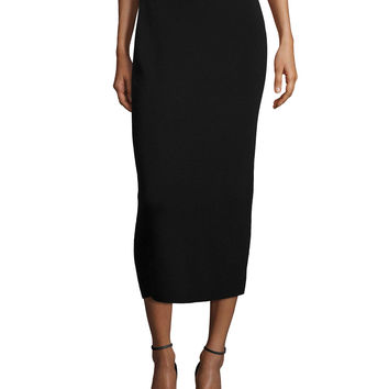 Washable Wool Midi Pencil Skirt, Black, Petite, Size: