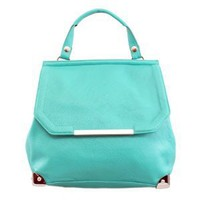 61080 NILA ANTHONY Versatile leatherette hand bag (Teal)