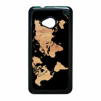 World Map On Wood Texture Print HTC One M7 Case