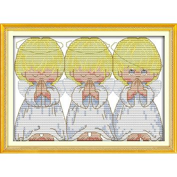 The pray little angels cross stitch kits baby kid 18ct 14ct 11ct counted print cotton thread embroidery DIY handmade needlework