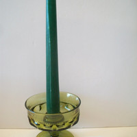 Vintage Green Kings Crown Taper Candle Stick Holder