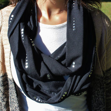Onyx Black Jersey Knit Infinity Scarf with Silver Droplet Accents, Women's Soft Fashion Neck Warmer