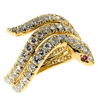 Cartier Diamond Ruby Eyes Gold Snake Ring