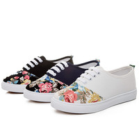 Womens Casual Cute Floral Canvas Sneakers