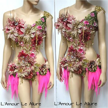 Golden Spring Forest Fairy Goddess Cosplay Dance Costume Rave Bra Halloween