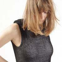 Black Wrap Vest, Charcoal Knitted Vest