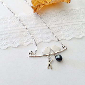 Birds charm Initial letter Necklace- Kissing Love Birds- Black Pearls silver necklace - Bridesmaid gifts