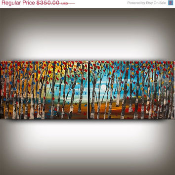 ART ON SALE Original abstract oil Paintings large Modern Art, Landscape Birch Tree Blue Red Texture Palette Wall Home Decor 72x24 Artist Na