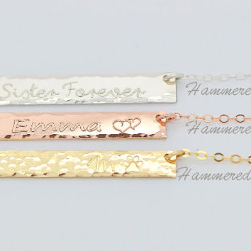 Bar Necklace Personalized Rose Gold, Name necklace, Monogram Bar Necklace, Rose Gold Necklace, Engraved Bar necklace, Hammered Bar, 5x35