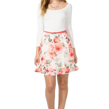 Bright Bloom Belted A-Line Dress