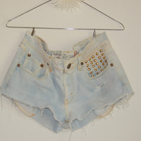 Bleached Studded Levi Shorts