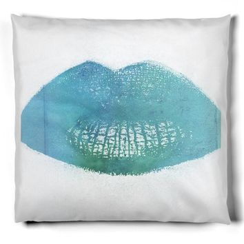Blue lips throw pillow