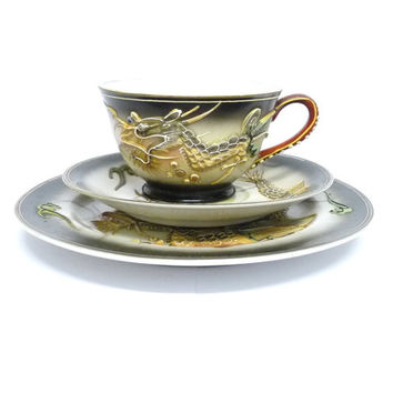 Moriage Asian Tea Cup, Saucer and Plate, Trio, Dragonware, Dragon design, Japanese, Hand Painted with Gold Accents, Porcelain, China,