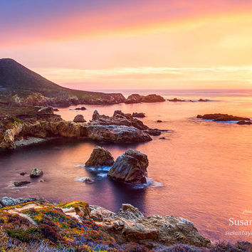 Big Sur Print, Golden Coast Sunset, California Seascape, Garrapata State Beach, Carmel Coastline Art, Rocky, Large Canvas, Scenic Landscapes