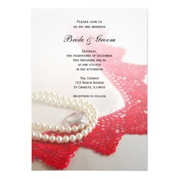 Pearls, Ring and Red Lace Wedding Invitation