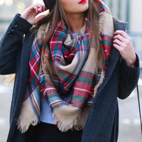 Unisex Scarf Fall Winter Fashion Plaid Warm Comfy Trendy Scarves