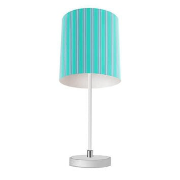 Turquoise and Gray Stripes Table Lamp