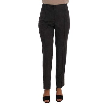Gray Viscose Wool Stretch Striped Pants