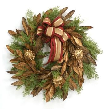 """24"""" Golden Bay Leaf Wreath with Gold Pine Cone Ornaments"""
