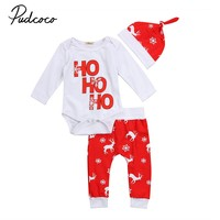 2017 pudcoco Newest Arrivals Hot Infant Newborn Toddler 3pcs Baby Boy Girl Xmas Romper Top Pant Casual Christmas Cute Outfit Set
