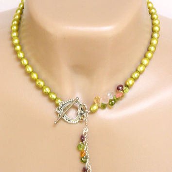 Lime Green Lariat Necklace Handcrafted Short Pearl Gemstone Silver Beaded