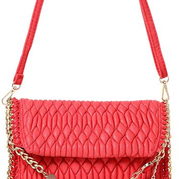 Embellished Quilted Shoulder Bag in Red