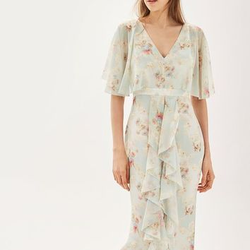 **Muted Floral Print Maxi Dress by TOPSHOP BRIDE