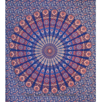 Large Bohemian Mandala Hippie Tapestry Beach Blanket Throw on RoyalFurnish.com