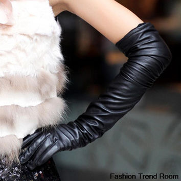 Faux Long Leather Gloves Fashion Women Gloves Warm Outdoors Long Design Sexy Gloves