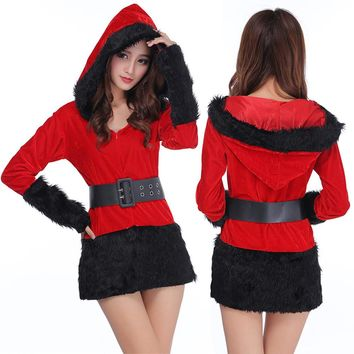 Women Sexy Santa Christmas Costume Fancy Dress Xmas Office Party Outfit