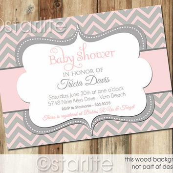 Chevron - Pink and Gray Grey - Baby Shower Invitation - Baby Girl - PRINTABLE Invitation Design