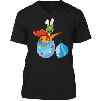 Happy Easter Egg Dino Trex T-Tex Bunny Kids T-Shirt Mens Printed V-Neck T