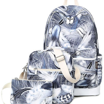 Gray Zippers Feather Print Backpack