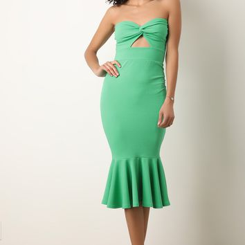 Knotted Sweetheart Strapless Peplum Midi Dress