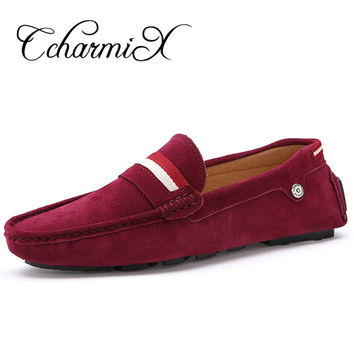 Large Size 39-47 Mens Driving Loafers 2017 Red Suede Leather Slip on Shoes For Men Moccasins Casual Luxury Shoes Penny Loafer