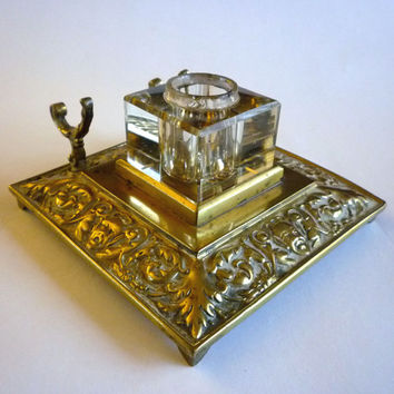 Antique Ink Well, Brass and Crystal Glass Inkwell Pen Holder, Art Nouveau Ink Well